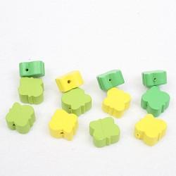 Lesene perle Metulj 15mm, Zeleno rumene b. 12 kosov