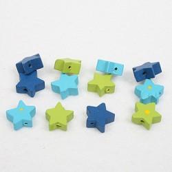 Lesene perle Zvezde 15mm, Modro zelene 12 kosov