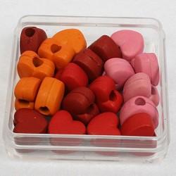 Perle lesen izgled Srce 10mm, Mešane b. 20 kosov
