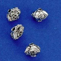 kovinske perle cca11mm, srebrne b., 4kos