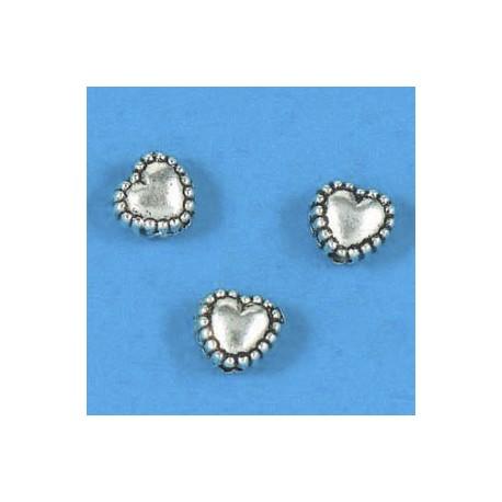 kovinske perle srčki, srebrne b. 5mm 15kos