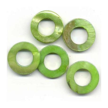 Biserna matica krog 23mm, Zelena, 5 kos