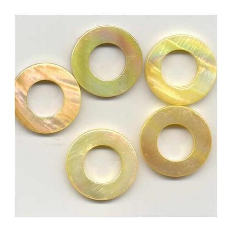 Biserna matica krog 23mm, Zlata, 5 kos