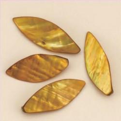 Biserna matica List 46 x 19mm, Zlato rjava, 5 kos