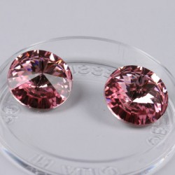 Swarovski Rivoli kristali, 14mm, Light Rose , 2 kosa