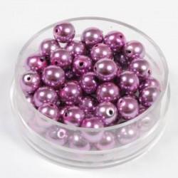 Voščene steklene perle 6mm, pink, 55 kos