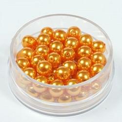 Voščene steklene perle 6mm, Sv. oranžne, 55 kos