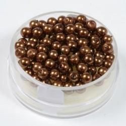 Voščene steklene perle 6mm, T. rjave, 55 kos