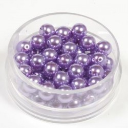 Voščene steklene perle 6mm, vijola, 55 kos