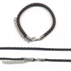 Usnjena ple. ogrlica 3mm x 45cm+zapestnica 5mm x 16cm, Črna