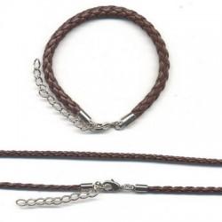 Usnjena ple. ogrlica 3mm x 45cm+zapestnica 5mm x 16cm, Rjava