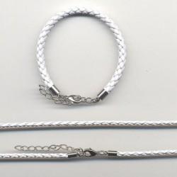 Usnjena ple. ogrlica 3mm x 45cm+zapestnica 5mm x 16cm, Bela