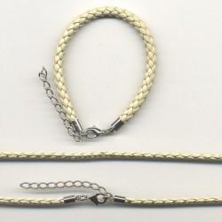 Usnjena ple. ogrlica 3mm x 45cm+zapestnica 5mm x 16cm, Bež