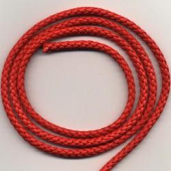 Usnjen pleten trak 5mm x 1m, Rdeča