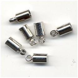 Zaključne kape za vrvico 3mm, Platinaste b. 6 kosov