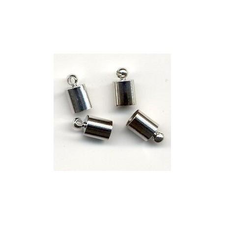 Zaključne kape za vrvico 5mm, Platinaste b. 4 kosov