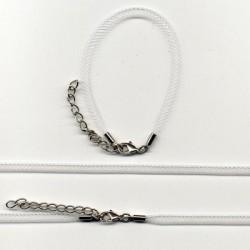 Pletena ogrlica in zapestnica iz najlona 5mm, 45cm+16cm, Bela