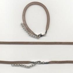 Pletena ogrlica in zapestnica iz najlona 5mm, 45cm+16cm, Rjava
