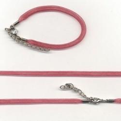 Pletena ogrlica in zapestnica iz najlona 5mm, 45cm+16cm, Rdeča
