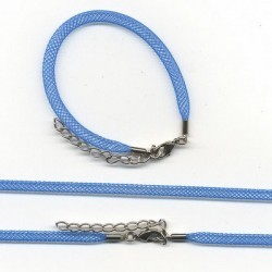 Pletena ogrlica in zapestnica iz najlona 5mm, 45cm+16cm, Modra