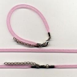 Pletena ogrlica in zapestnica iz najlona 5mm, 45cm+16cm, Roza