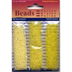Akrilne perle 2,5mm set 3 x 4g. Rumene