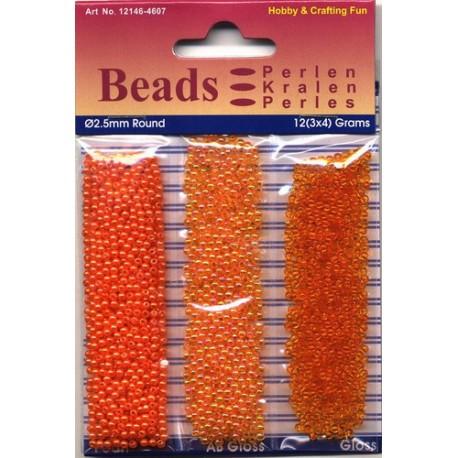 Akrilne perle 2,5mm set 3 x 4g. Oranžna
