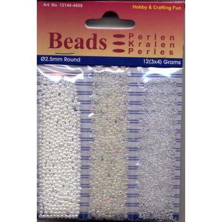 Akrilne perle 2,5mm set 3 x 4g. AB bela