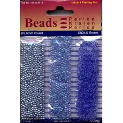Akrilne perle 2,5mm set 3 x 4g. Pastelno modre