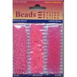 Akrilne perle 2,5mm set 3 x 4g. Fuksija