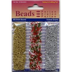 Akrilne perle 2,5mm set 3 x 4g. Božične barve