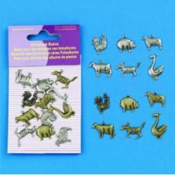 Dodatki za Scrapbook, Domače živali cca 15mm, 12 kosov