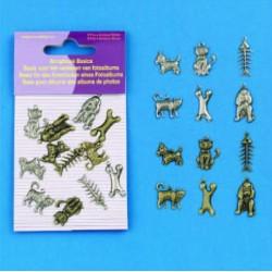 Dodatki za Scrapbook, Kužki + Mucki cca 15mm, 12 kosov