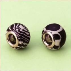 Perle vzorci Zebra 14mm luknja 5mm, 2 kosa