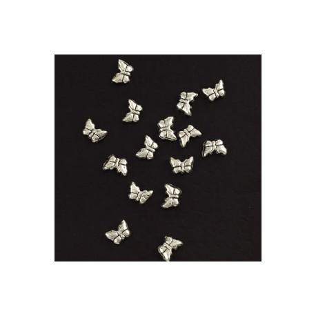 kovinske perle metuljčki cca 8mm, srebrne b., 15kos