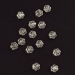 kovinske perle roža 8mm, srebrne b., 15kos