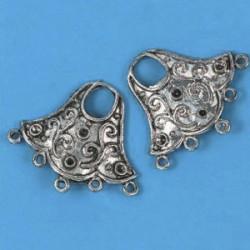 Kovinski ornamenti set 5, platinaste b.