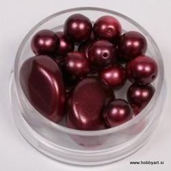 Voščene steklene perle mešane cca 6 do 15mm, Vinsko rd. 19g.