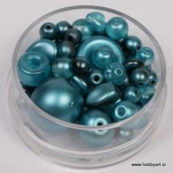 Voščene steklene perle mešane cca 6 do 15mm, Modre 19g.