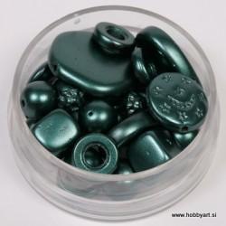 Voščene steklene perle mešane cca 6 do 15mm, Tem. zelena 19g.