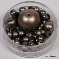 Voščene steklene perle mešane cca 6 do 15mm, Rjave 19g.
