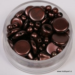 Voščene steklene perle mešane cca 6 do 15mm, Tem. rjava 19g.