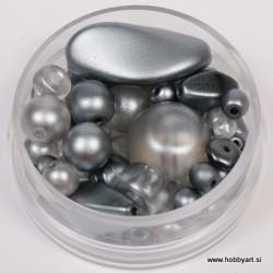 Voščene steklene perle mešane cca 6 do 15mm, Sive 19g.