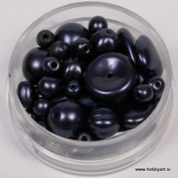 Voščene steklene perle mešane cca 6 do 15mm, Tem. vijola 19g.
