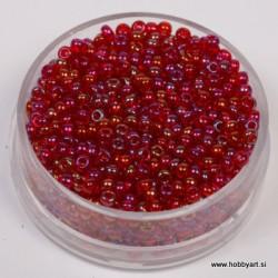 Perle 2,6mm Mavrični lesk Rdeče, 17g.