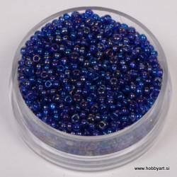 Perle 2,6mm Mavrični lesk Tem. modre, 17g.