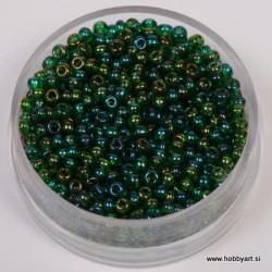 Perle 2,6mm Mavrični lesk Tem. zelena, 17g.
