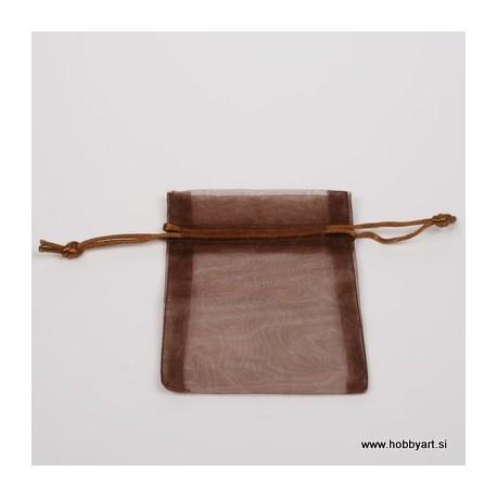 Organza vrečke 9 x 12cm, Rjava 10 kosov