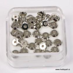 Metalni zaključni krogci pr. 4mm, Platinaste b. 40 kos