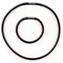 Usnjena Ogrlica + zapestnica z zakl.5mm 45cm in 20cm